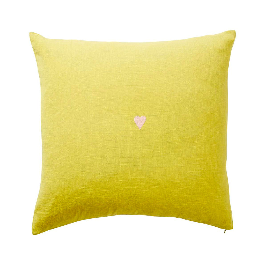 SAGE & CLARE | Tabitha Heart Cushion CHARTREUSE | Shut the Front Door