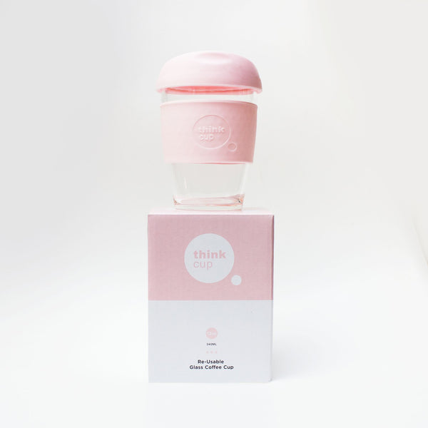 Think Cup | Think Cup Reusable Glass Coffee Cup - 12oz Blush | Shut the Front Door