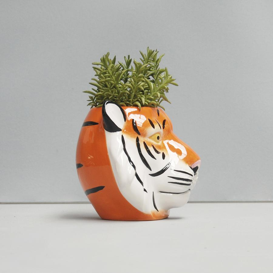 White Moose | Ceramic Planter - Tiger | Shut the Front Door