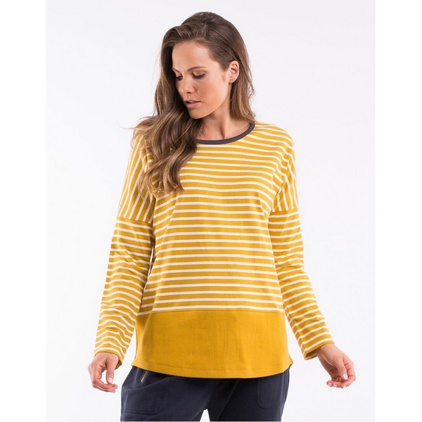 Elm Knitwear | Walkabout L/S Tee Yellow Stripe | Shut the Front Door