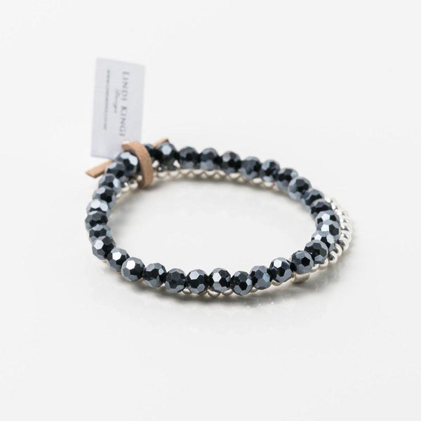 Lindi Kingi | Bracelet Set - Navy Silver 6mm | Shut the Front Door