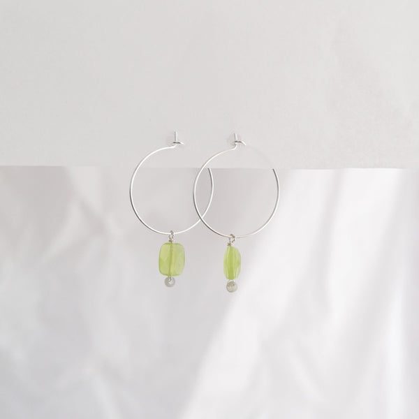 Hydrangea Ranger | Silver Hoops - Green Agate Rectangle | Shut the Front Door