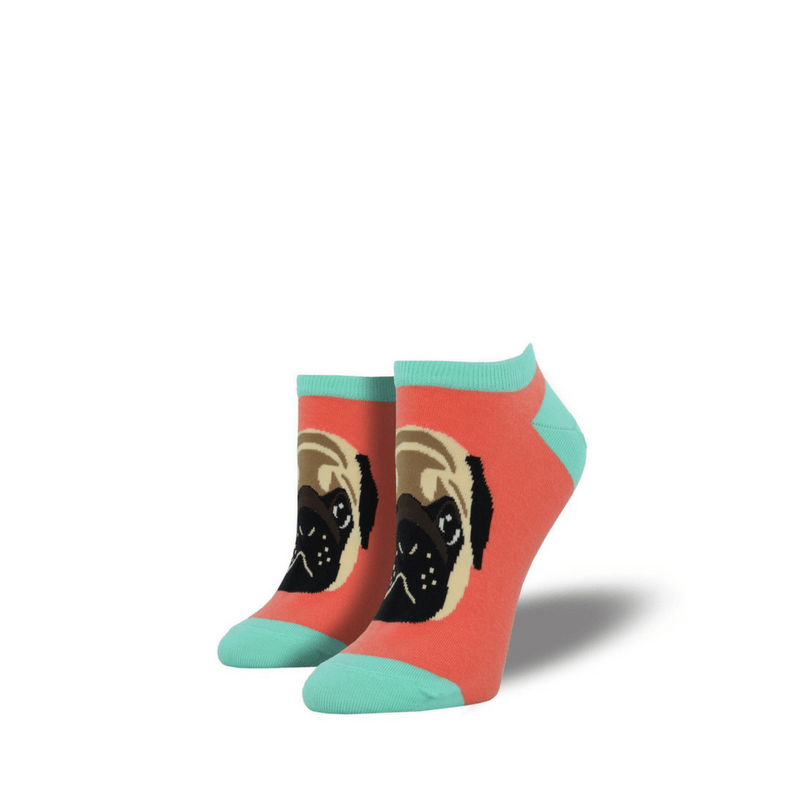 Socksmith | Socksmith Womens Pug Lyfe Papaya Ped Socks | Shut the Front Door