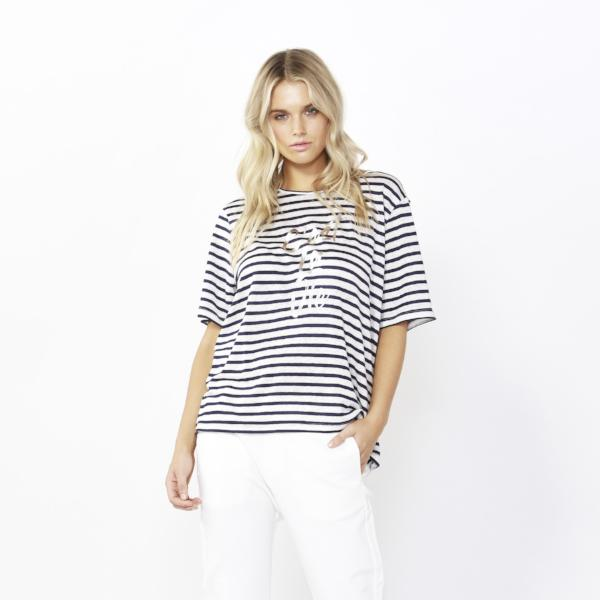 Betty Basics | Los Angeles Tee - White/Ink Stripe | Shut the Front Door