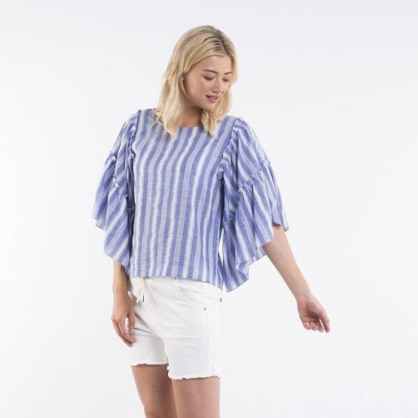 Foxwood | Clover Top - Blue & White Stripe | Shut the Front Door