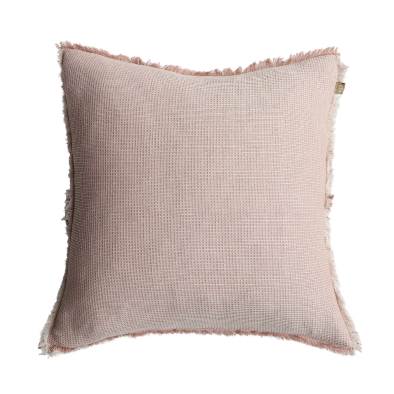 Raine & Humble | Chambray Waffle Cushion 50x50cm Pink | Shut the Front Door