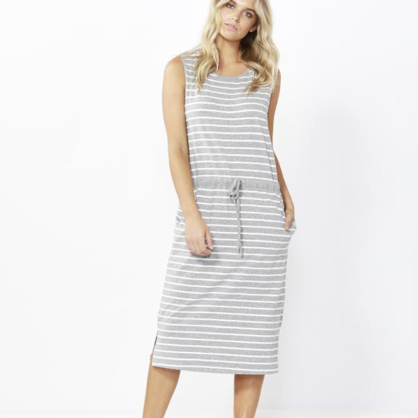 Betty Basics | Jennifer Midi Dress - Silver/White Stripe | Shut the Front Door