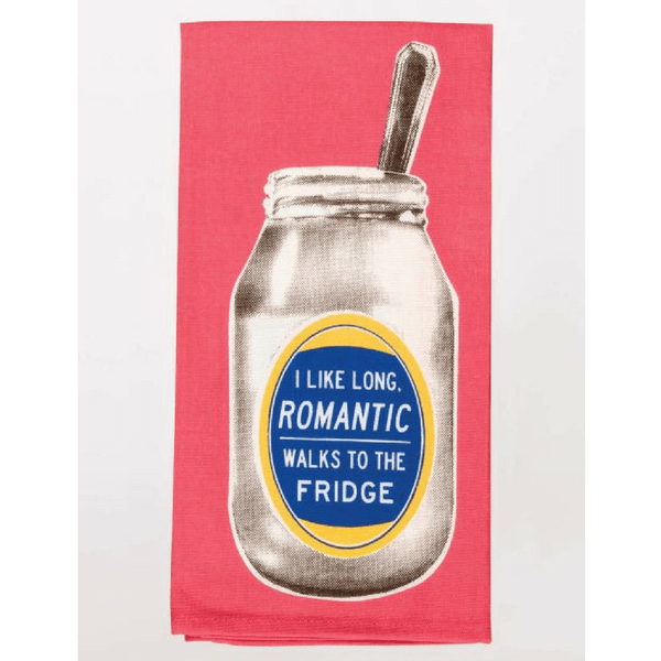 Blue Q | Tea Towel - Romantic Walks to the Fridge | Shut the Front Door