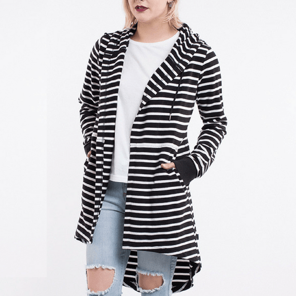 Elm Knitwear | Ashleigh Hooded Cardi - BLACK/WHITE STRIPE | Shut the Front Door
