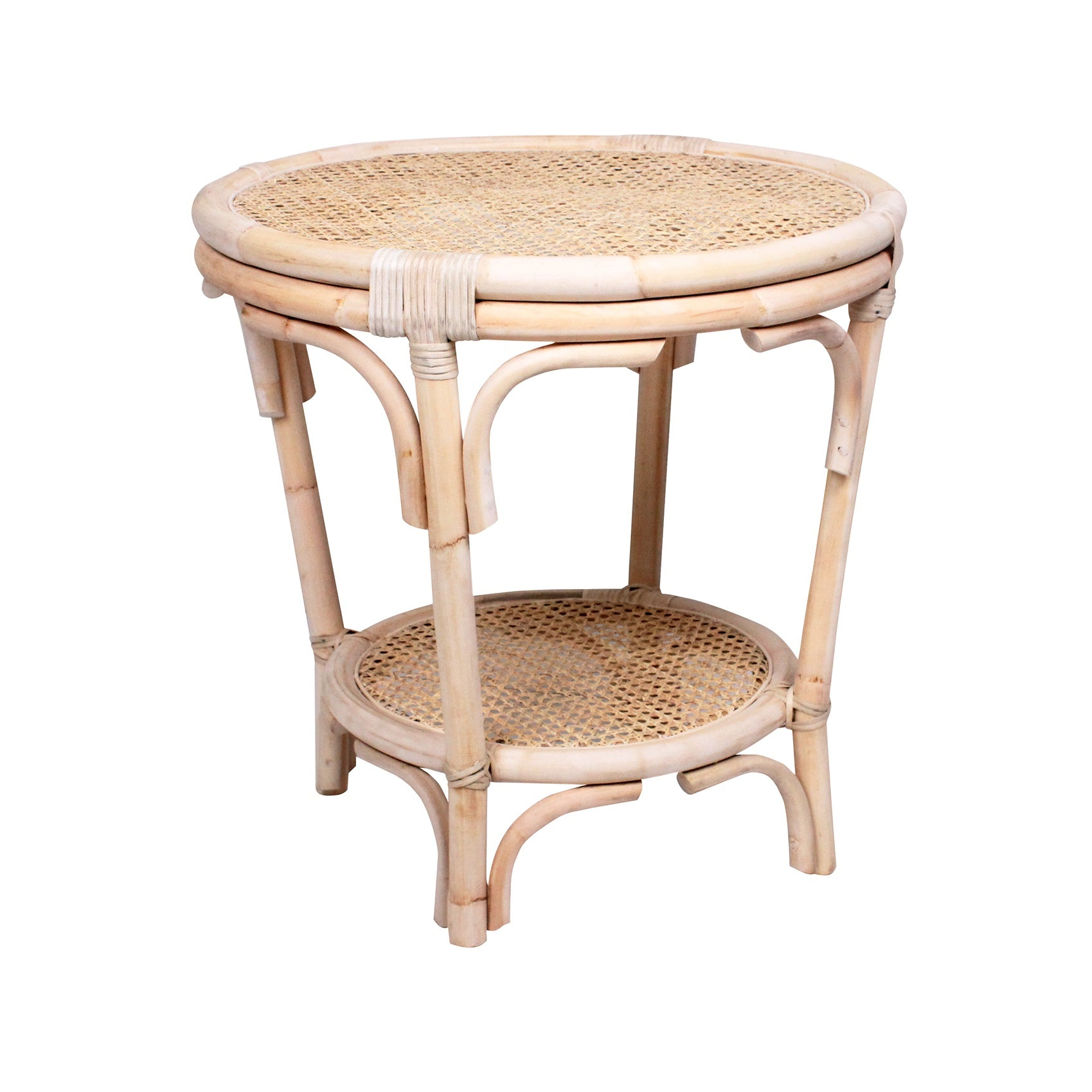 General Eclectic Franklin Rattan Side Table Bedside Table Shut