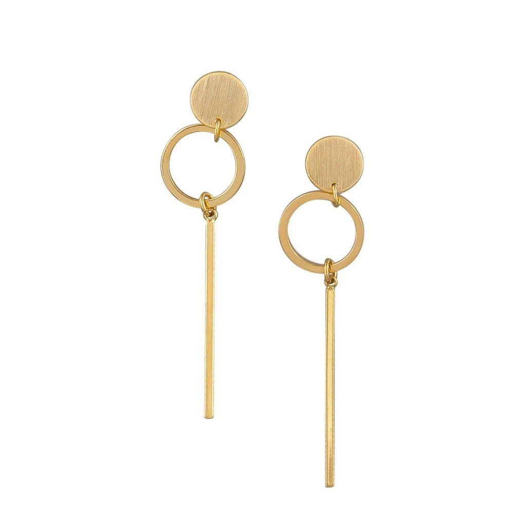 Tiger Tree | Earrings Gold Circle/Bar | Shut the Front Door