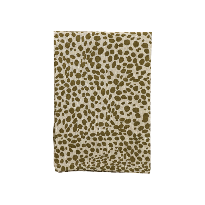 Raine & Humble | Animal Print Tea Towel - Spot Khaki | Shut the Front Door