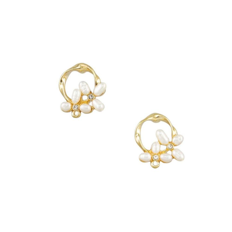Tiger Tree | Pearl Cluster Earrings Gold | Shut the Front Door