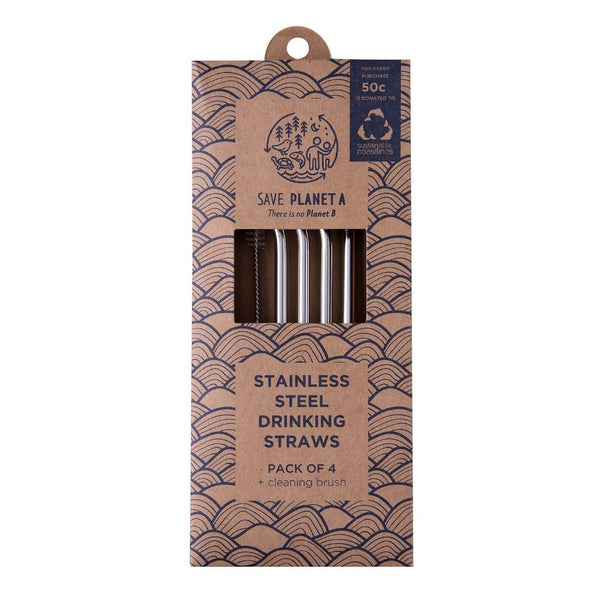 Save Planet A | Stainless Steel Reusable Drinking Straws | Shut the Front Door