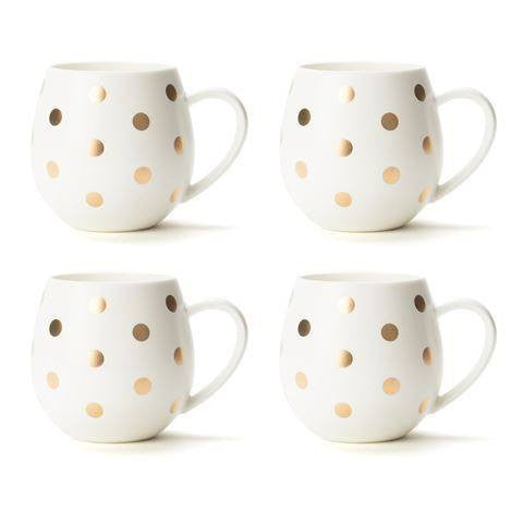 Robert Gordon | Hug Me Mug Set of 4 White/Gold Spot | Shut the Front Door