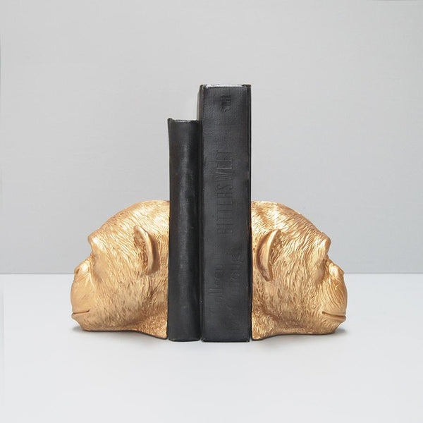 White Moose | Monkey Head Bookends Gold | Shut the Front Door