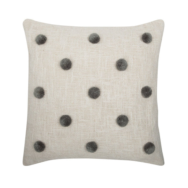 Rose Avenue | Pompom Cushion Natural/Grey | Shut the Front Door