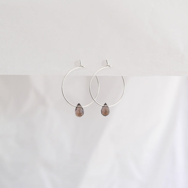 Hydrangea Ranger | Silver Hoops - Smokey Grey Agate Drops | Shut the Front Door