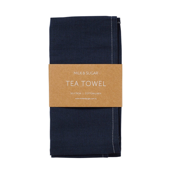 Milk & Sugar | Linen Tea Towel - Navy | Shut the Front Door