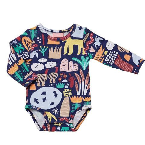 Halcyon Nights | Kakadu - Long Sleeve Body Suit 0-3m | Shut the Front Door
