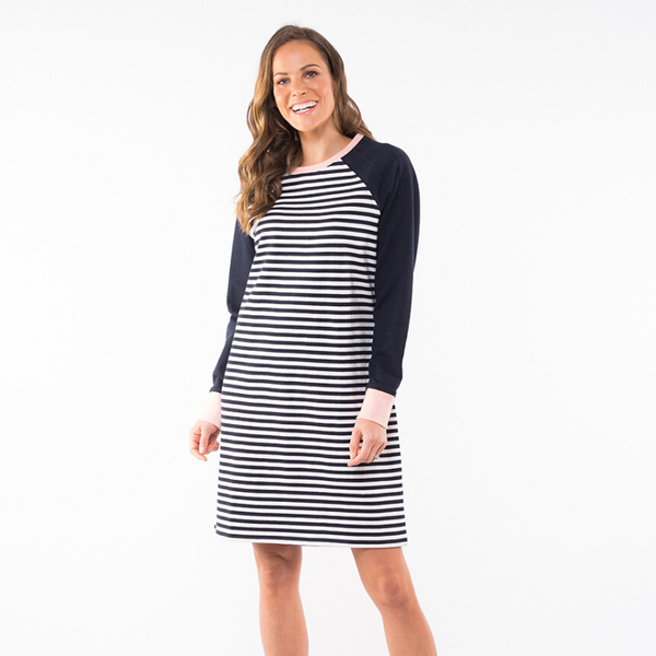 Elm Knitwear | Bordeaux Spliced Dress - Navy & White Stripe | Shut the Front Door