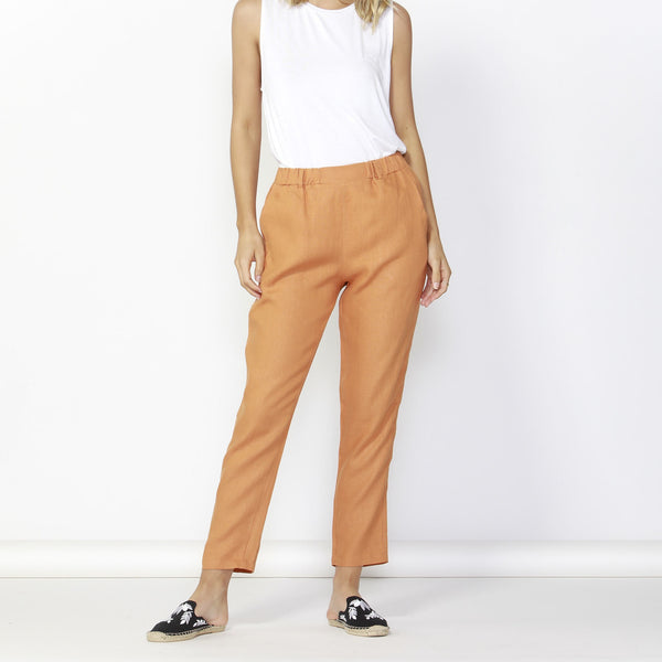 Betty Basics | Rocco Linen Pant - Rust | Shut the Front Door