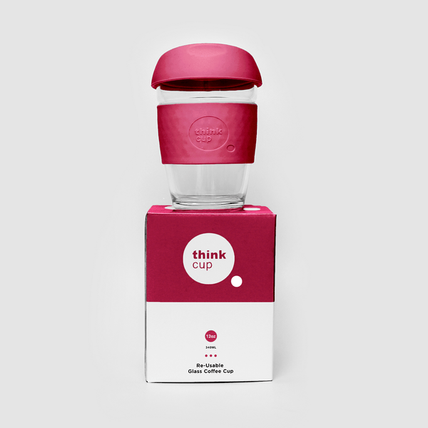 Think Cup | Think Cup Reusable Glass Coffee Cup 12oz Berry | Shut the Front Door