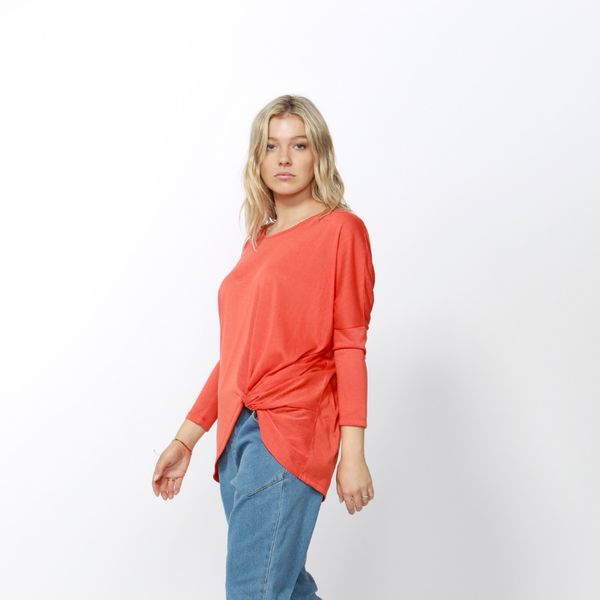 Betty Basics | Atlanta 3/4 Sleeve Top TANGERINE | Shut the Front Door