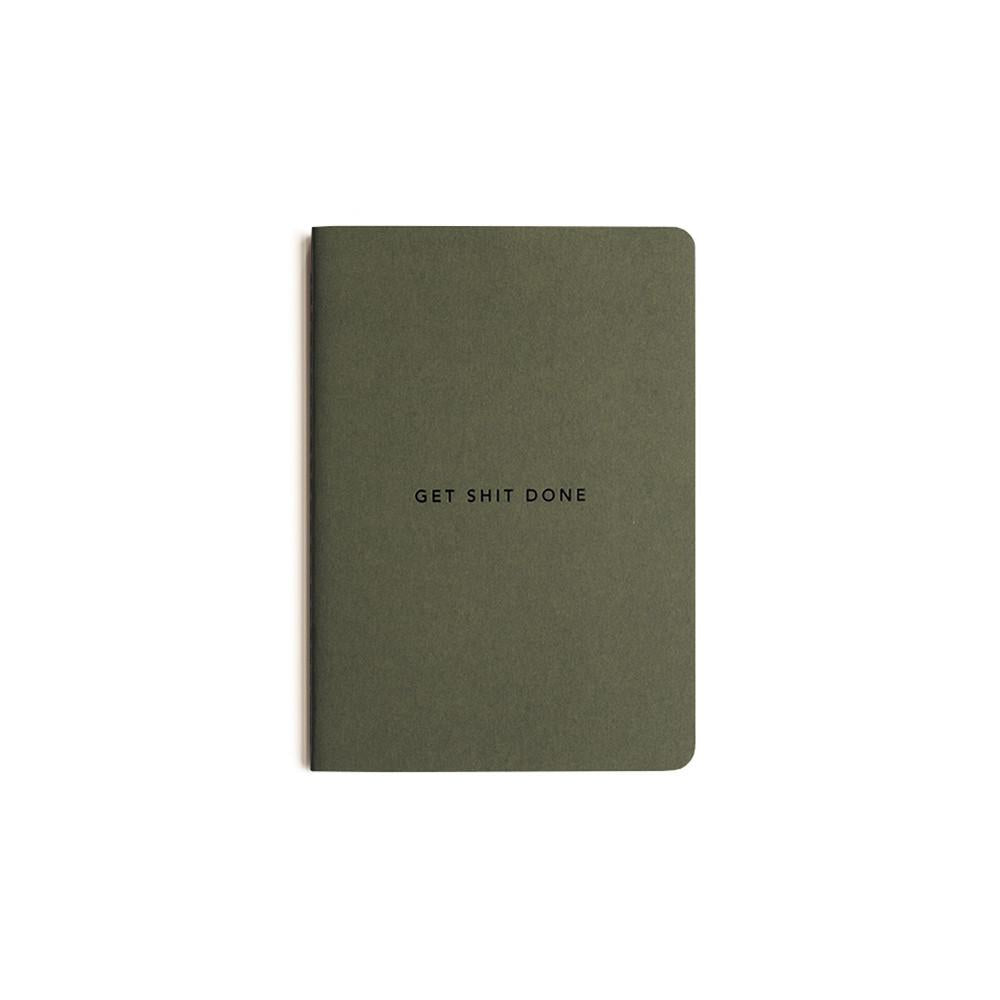 Mi Goals | Get Shit Done Notebook A6 Khaki | Shut the Front Door