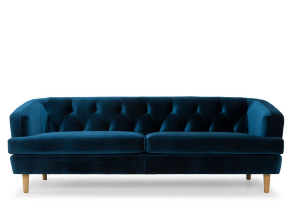 Me & My Trend | Baxter 3 Seat Velvet Sofa Blue | Shut the Front Door