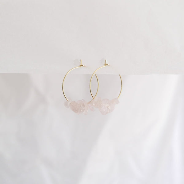 Hydrangea Ranger | Gold Hoops - Rose Quartz Stones | Shut the Front Door