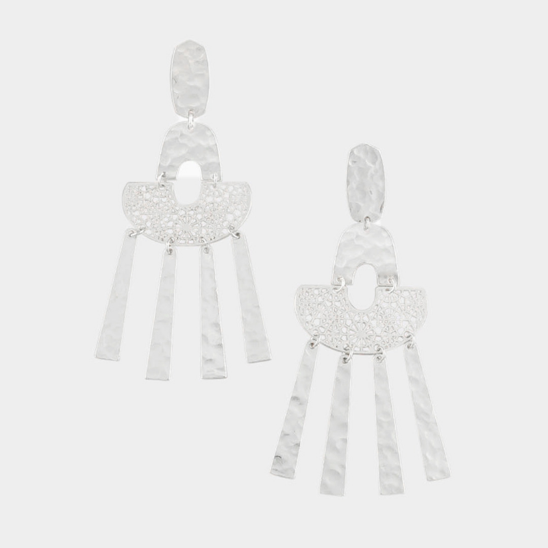 Tiger Tree | Filigree Hammered Earrings - Silver | Shut the Front Door