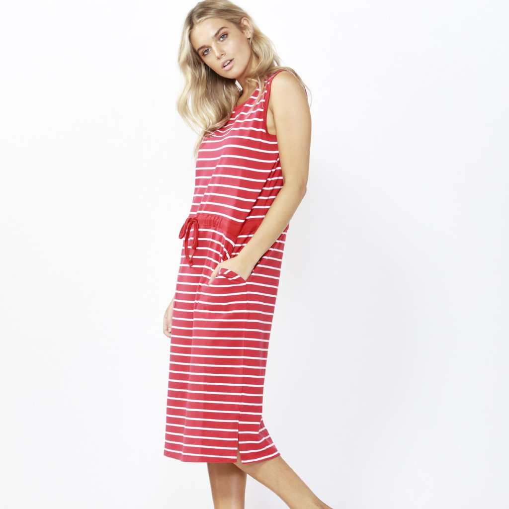 Betty Basics | Jennifer Midi Dress Red/White Stripe | Shut the Front Door
