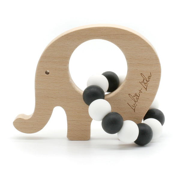 Lulu Lala | Ellie Elephant Teething Toy - Black White | Shut the Front Door