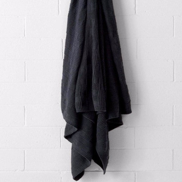 Aura | Aura Check Knitted Marle Throw Charcoal Marle | Shut the Front Door