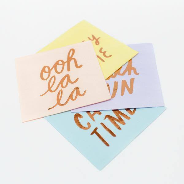 Meri Meri | Napkins Typo Rose Gold/Pastel | Shut the Front Door