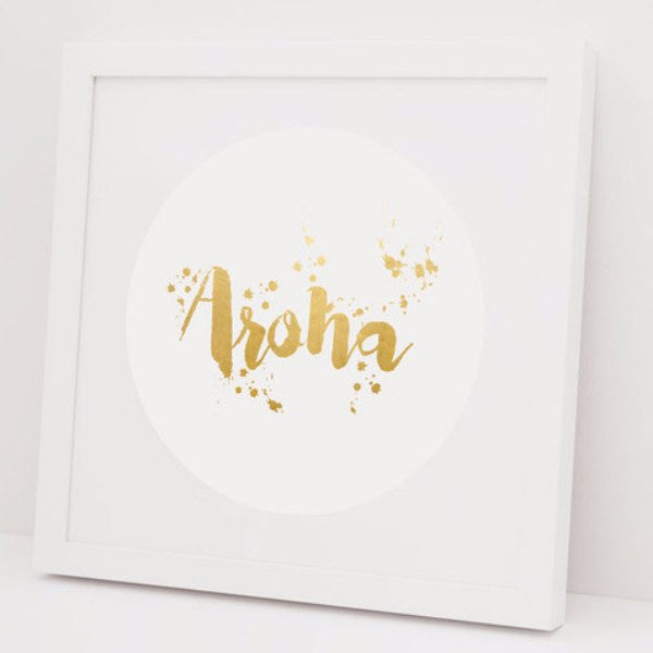 100% NZ | Framed Print Aroha Foil White | Shut the Front Door