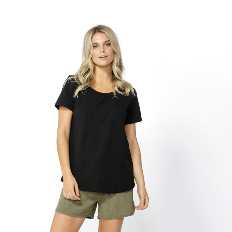 Betty Basics | Demi Scoop Tee - Black | Shut the Front Door