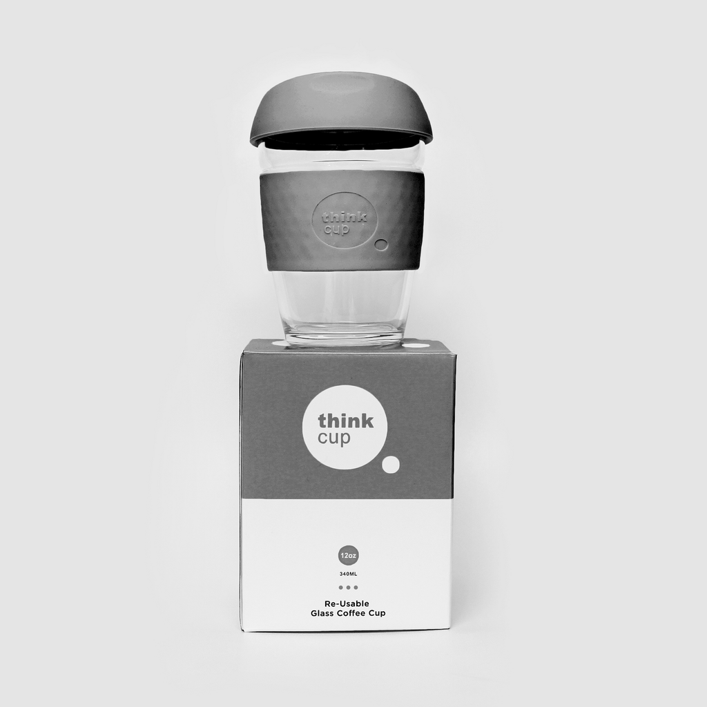 Think Cup | Think Cup Reusable Glass Coffee Cup - 12oz Charcoal | Shut the Front Door