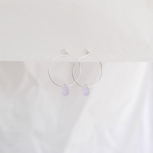 Hydrangea Ranger | Silver Hoops - Sky Blue Agate Drops | Shut the Front Door