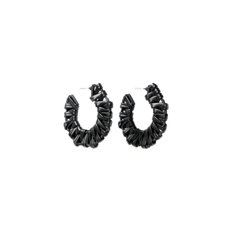 Antler NZ | Earrings Leatherette Hoop - Black | Shut the Front Door