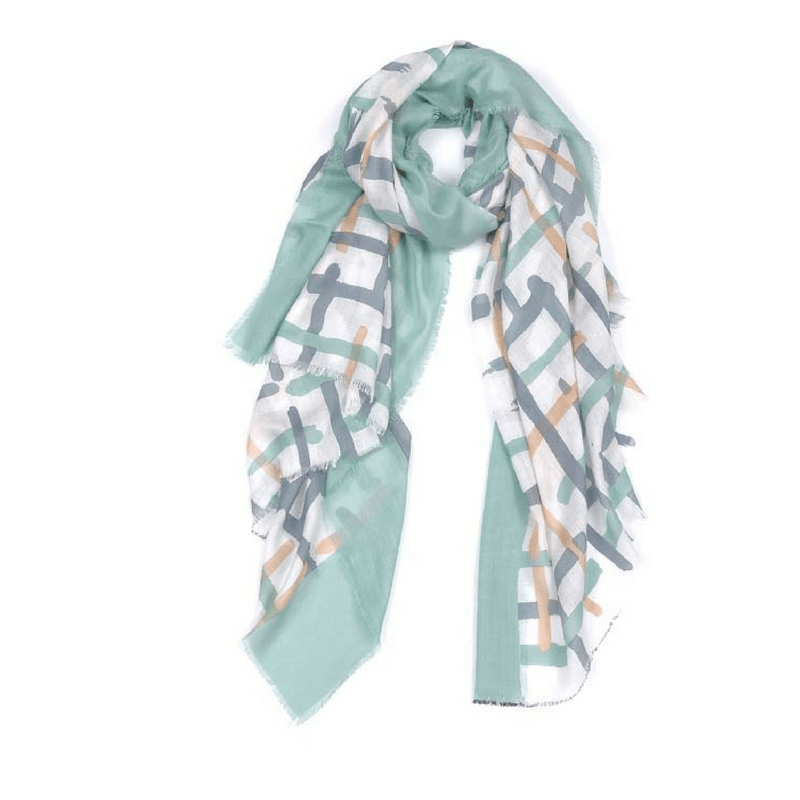 Indus Design | Scarf Painted Cross Mint/Salmon | Shut the Front Door