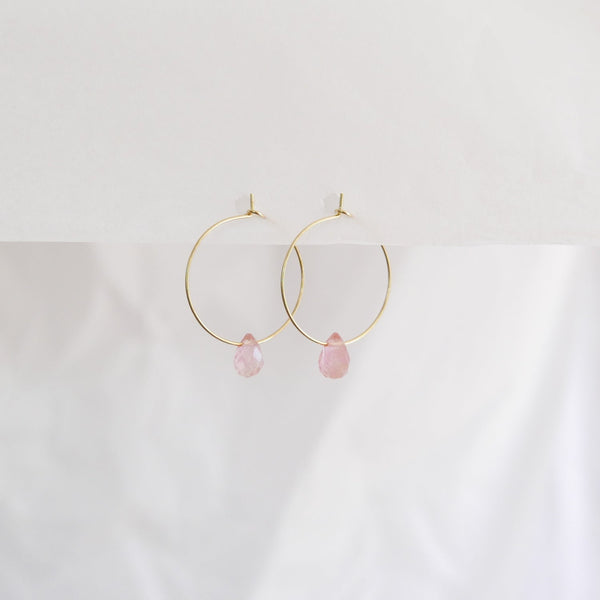 Hydrangea Ranger | Gold Hoops Agate Drops - Rose | Shut the Front Door