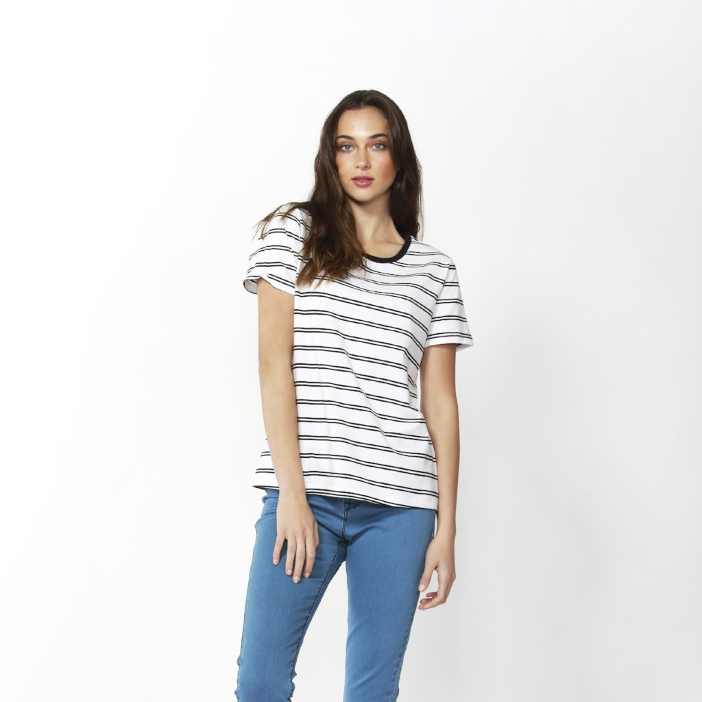 Betty Basics | Cara Tee White/Black Stripe | Shut the Front Door