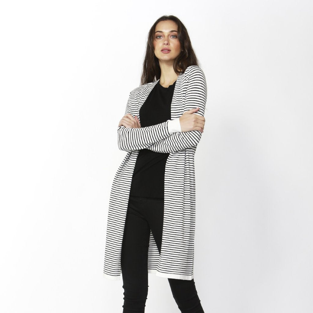 Betty Basics | Leah Knit Cardigan White/Blk Stripe | Shut the Front Door