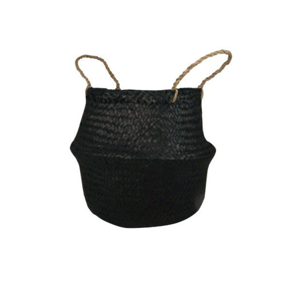 General Eclectic | Seagrass Belly Basket BLACK small | Shut the Front Door