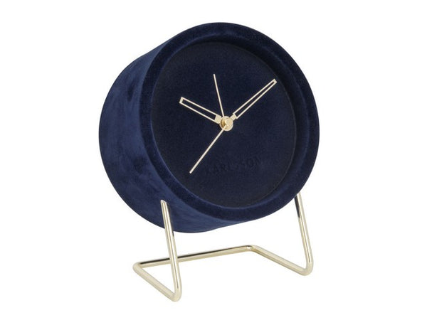 Karlsson | Lush Velvet Alarm Clock - Blue | Shut the Front Door