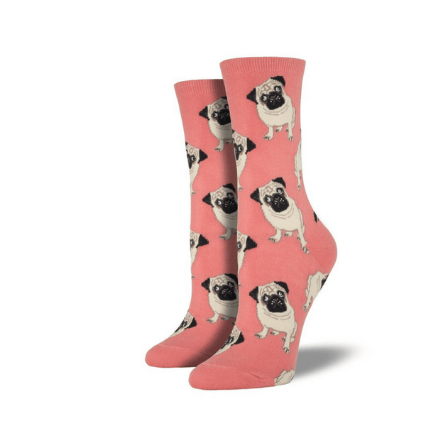 Socksmith | Socksmith Womens Pug Crew Socks Peach | Shut the Front Door