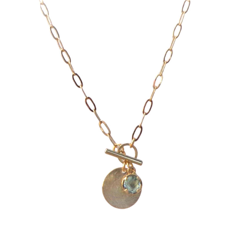 Tiger Tree | Stone & Scratched Disc Necklace - Gold | Shut the Front Door
