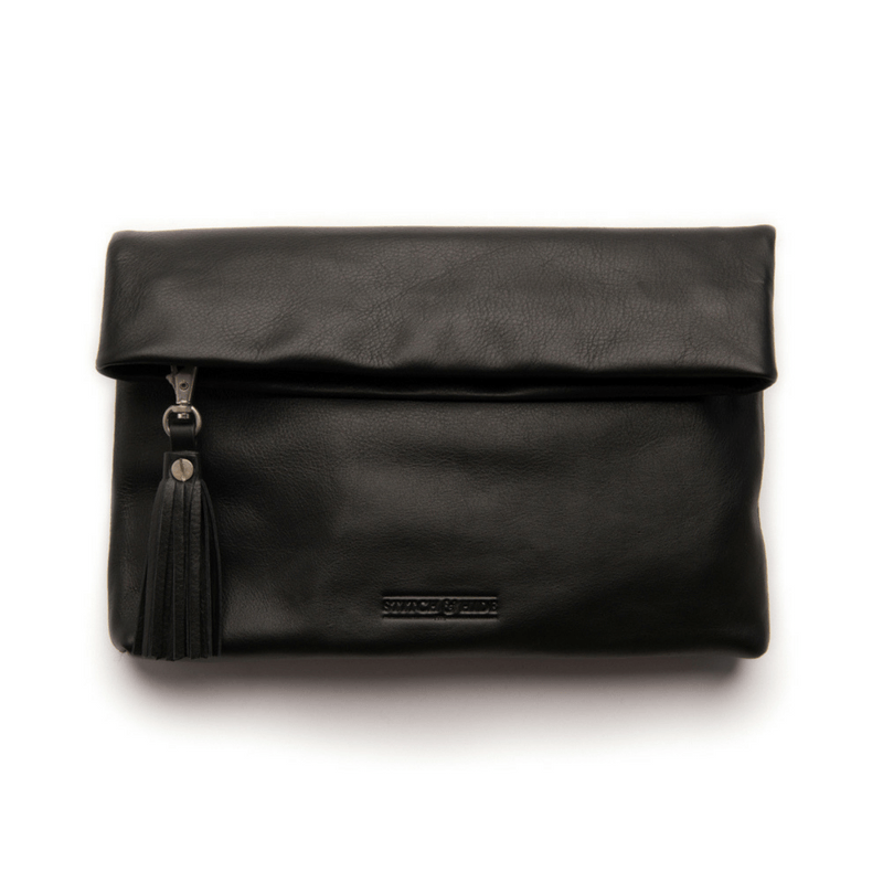 Stitch & Hide | Lily Foldover Clutch Bag - BLACK | Shut the Front Door